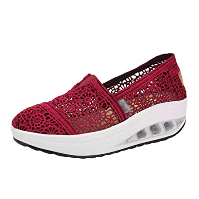 1b32adcc61cf LINNUO Women Platform Sneakers Trainers Fitness Running Hollow Out Floral Shoes  Lace Wedge Heel Loafers Driving