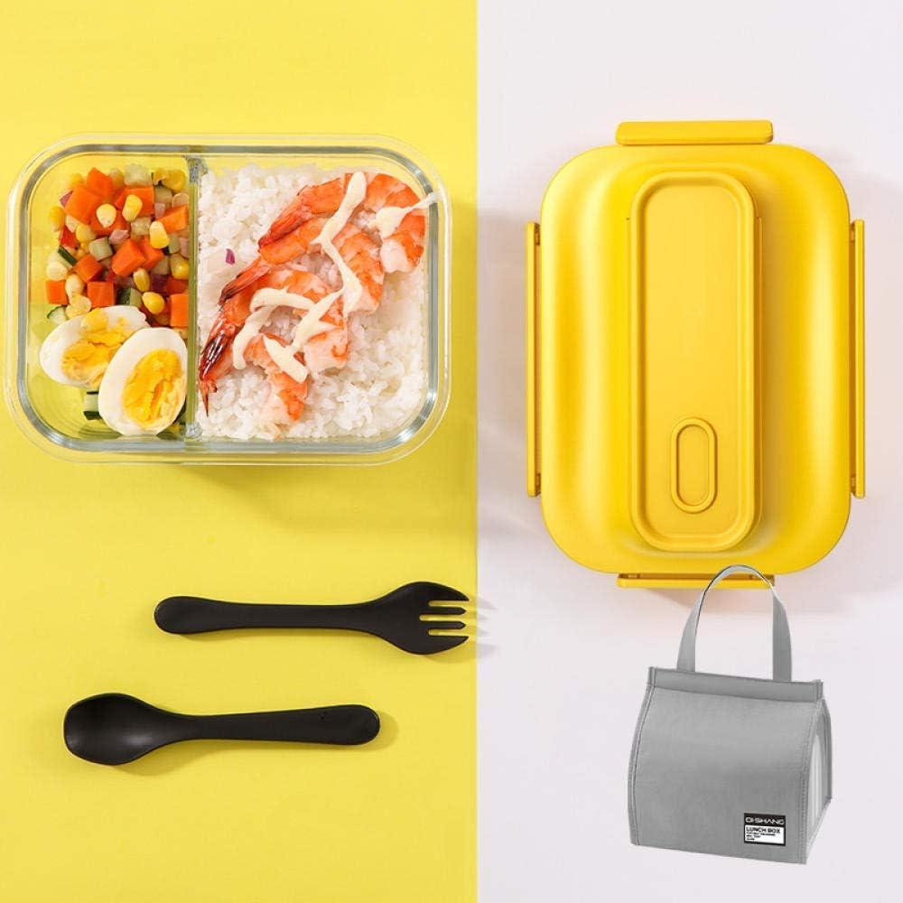 ガラスコンパートメント日本スタイルの弁当箱電子レンジオフィス学生ポータブルピクニックフードストレージコンテナバッグ-2グリッドイエローバッグ