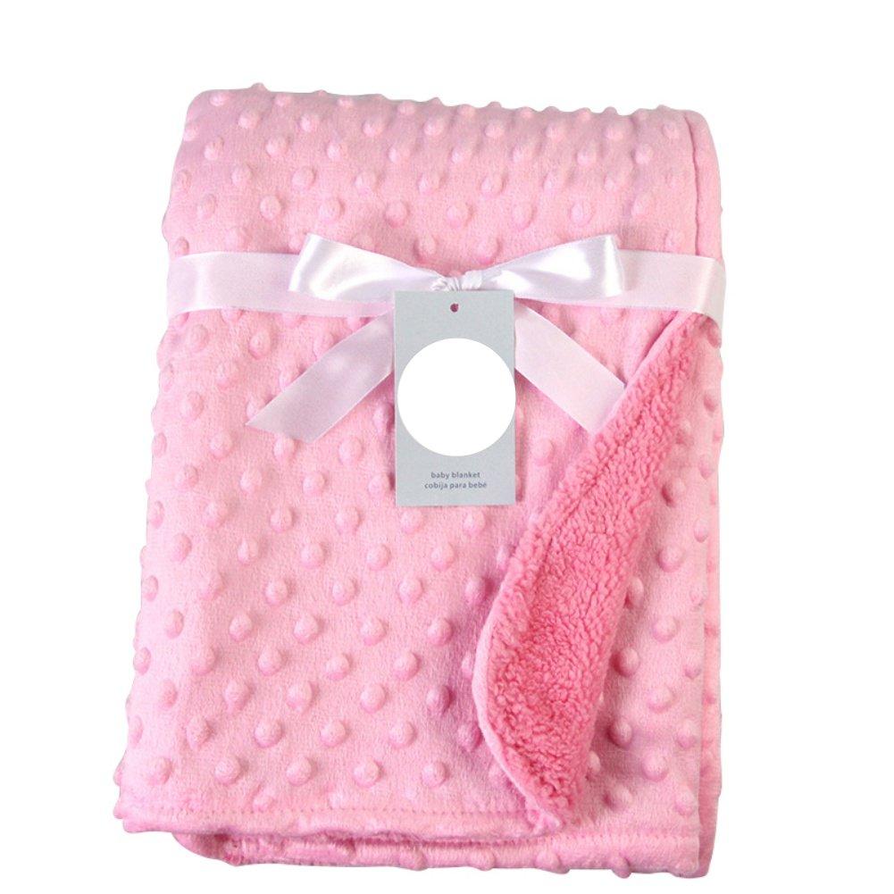 Tracfy Baby Polyester Fleece Blanket Ultra Soft Minky Dot Bed Swaddling and Stroller Blanket for Unisex Babies Infants Kids
