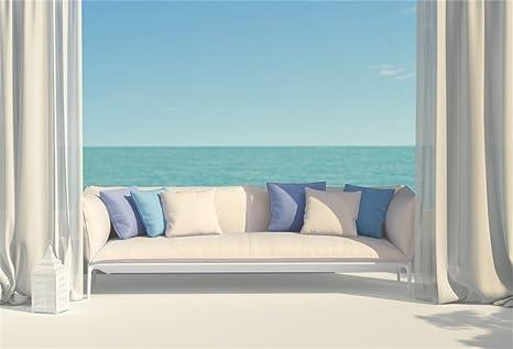 AOFOTO 10x7ft Romantic Beach Curtain Background Sofa Beautiful Terrace Overlooking The Sea Photography Backdrop Ocean Marine Scenic Summer Vacation ...