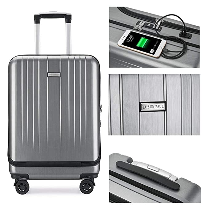 4a70b57d589d MHO Luggage USB Port Business Suitcase Boarding Suitcase Aluminum ...