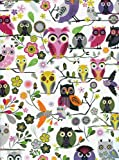Roger La Borde Elegant Owls Reversible Rolled Gift Wrapping Paper 2 Sheets 19 in x 27.5 in