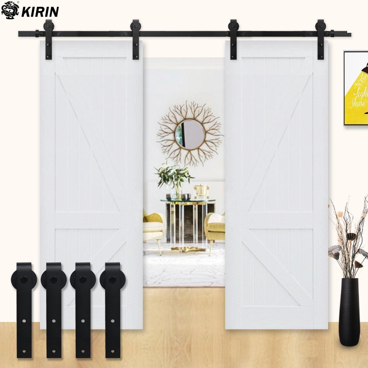 KIRIN - Kit de herramientas para puerta corredera de interior vintage americano para puertas dobles y decoración del hogar para cocina, baño, dormitorio: Amazon.es: Bricolaje y herramientas