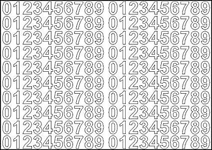 Altezza 1,8CM con retro adesivo tagliato a computer. 2x Fogli A5 di numeri autoadesivi Bianco