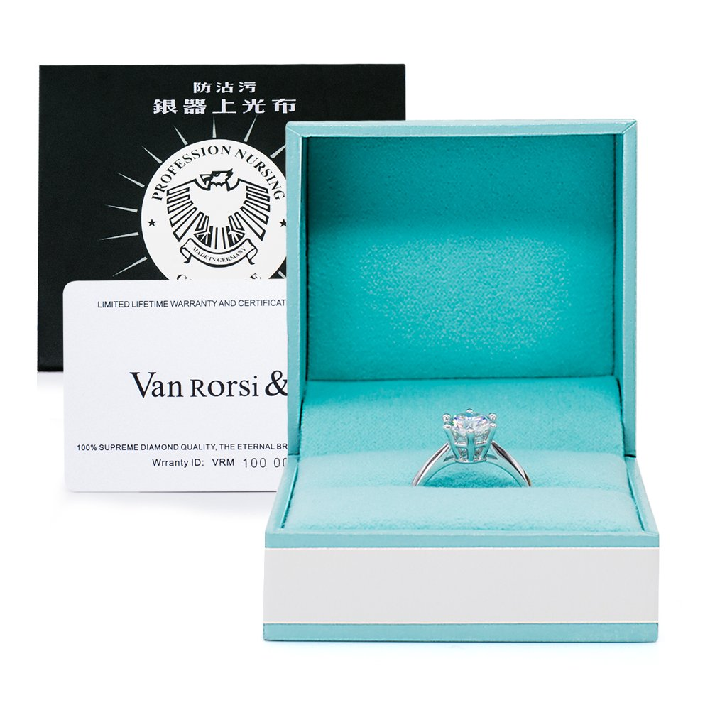2.0CT Moissanite HI Coloress Simulated Diamond, Sterling Silver Engagement Ring By Van Rorsi&Mo