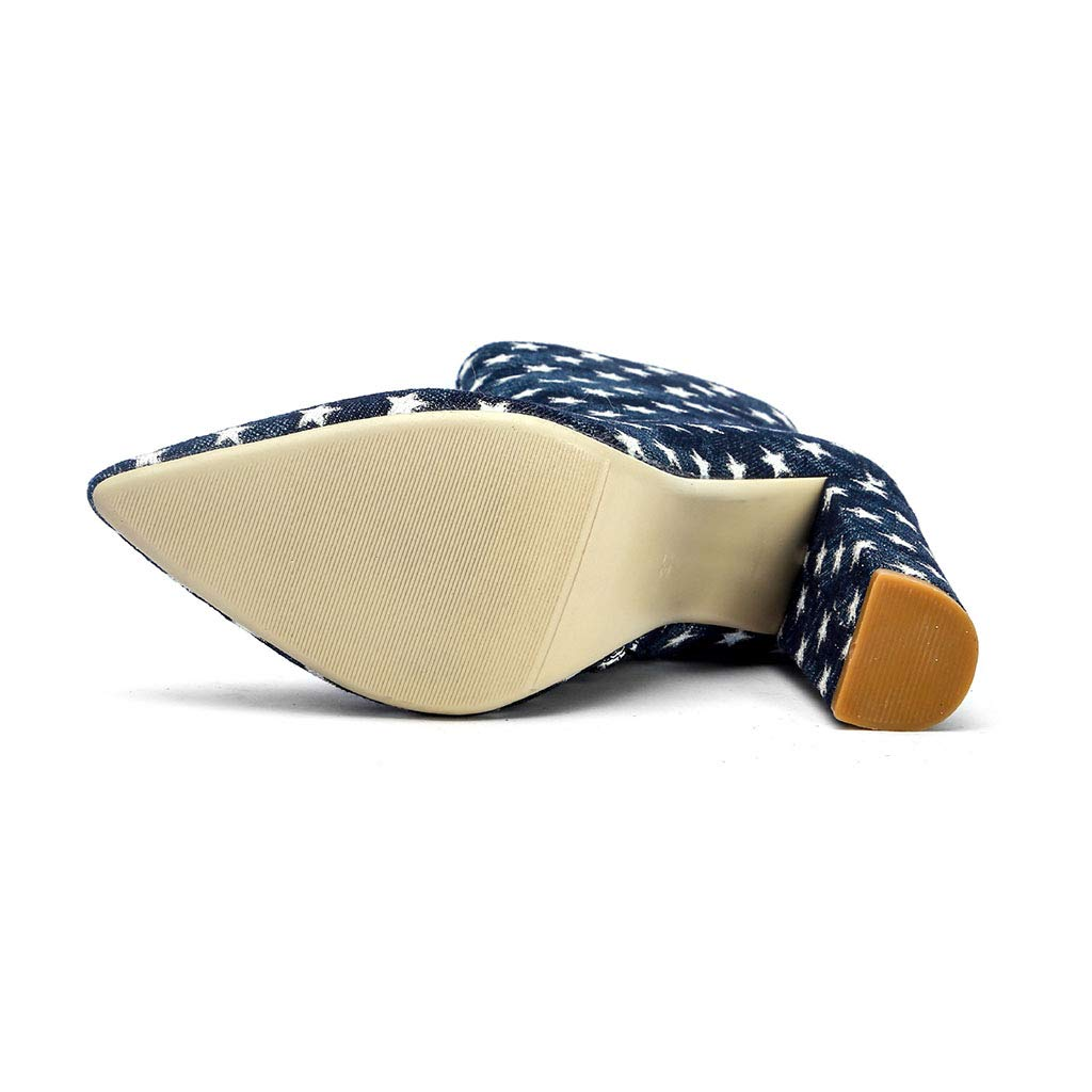 Frauen Schuhe Schuhe Schuhe dick mit High Heel Denim Spitzen Stiefel seitlichen Reißverschluss Sterne gedruckt Mode Stiefel neu,42EU 97f5e4