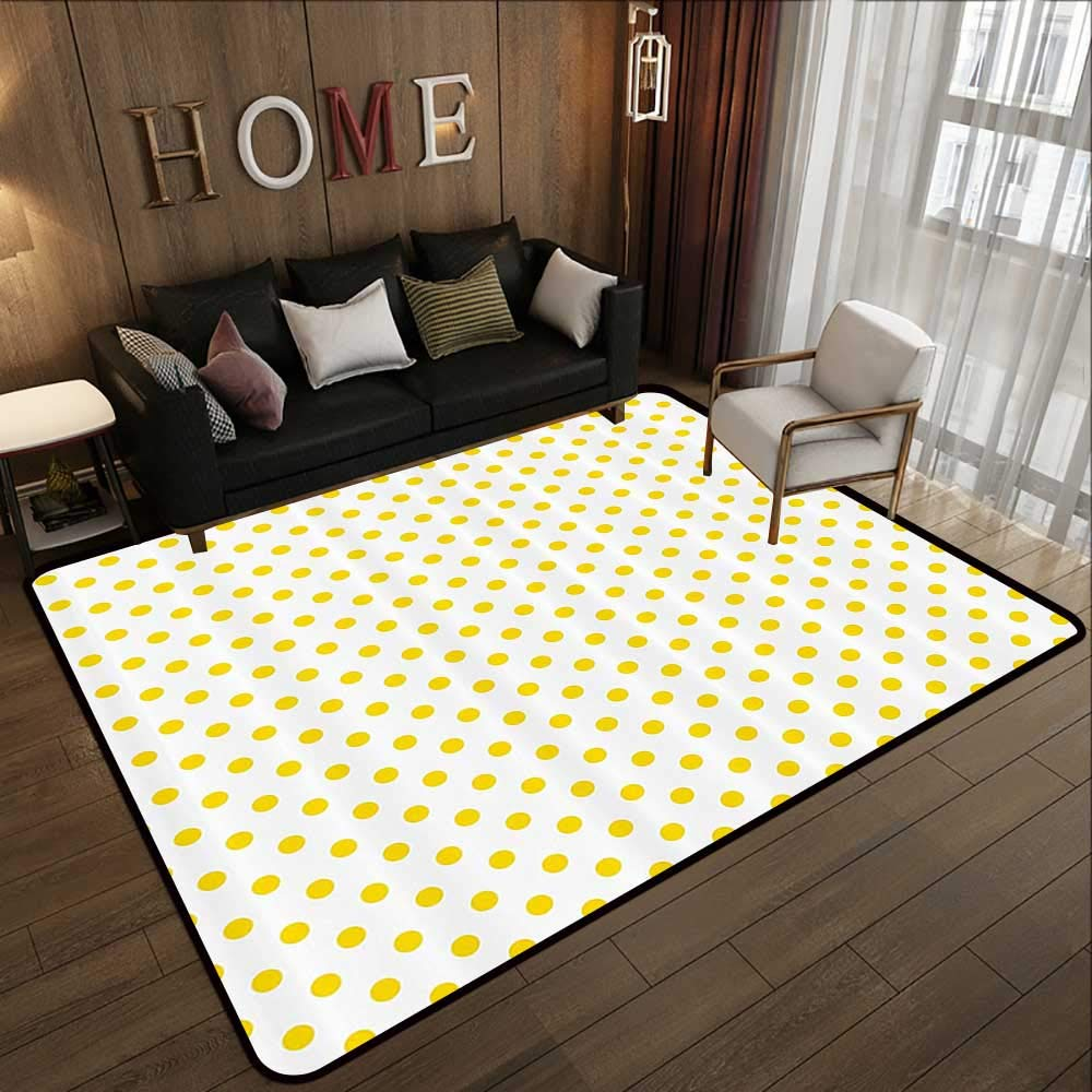 Pattern05 63 x 94 (W160cm x L240cm) Carpet mat,Yellow Decor,Modern Artdeco Style Design Forest with Birds and Trees Artwork,White Black and Amber 63 x 94  Floor Mat Entrance Doormat