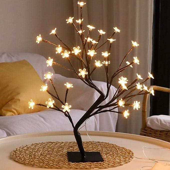 Bauhinia Bonsai - Lámpara de mesa de 48 LED con diseño de árbol de ...