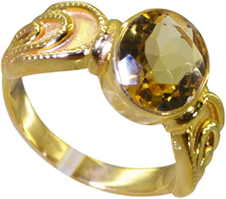 Oval Citrine Gold Plated Ring 925 Sterling Silver Yellow 7.97 Grams Size 8