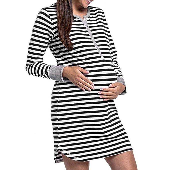 BBsmile Ropa Embarazadas Mujeres Botón de Manga Larga Camisón de enfermería Rayas Maternidad Vestido de Lactancia