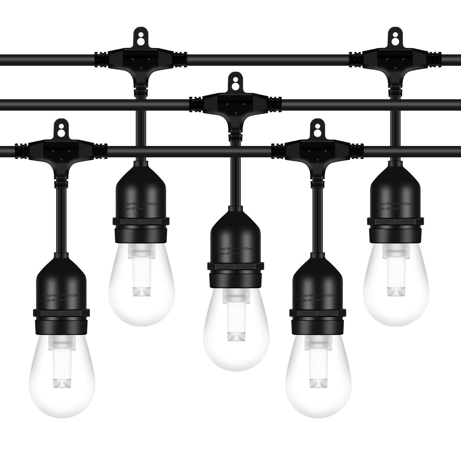 AntLux 52FT LED Outdoor String Lights - 2W Dimmable Vintage Edison Bulbs - Heavy Duty Cord 18 x E26 Hanging Sockets - Commercial Grade Waterproof Patio Lighting for Bistro Porch Garden Backyard Party