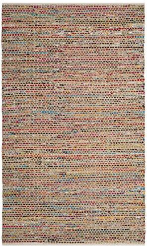 Safavieh CAP301A-4 Cape Cod Collection Area Rug, 4' x 6', Natural/Multi Collection Multi Contemporary Stripe Rug