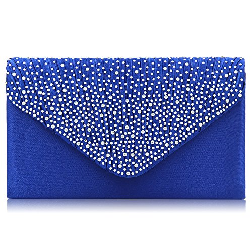Milisente Clutch Purses for Women evening Glitter Wedding Purse Crystal Envelope Clutches Shoulder Bags (Royal Blue)