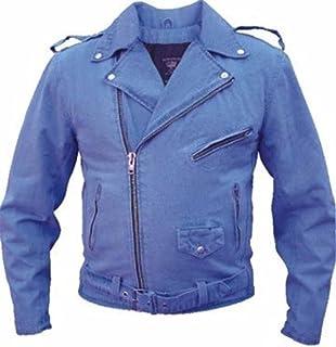 Amazon.com: Mens Black Denim Basic Motorcycle Style Jacket W/Half ...