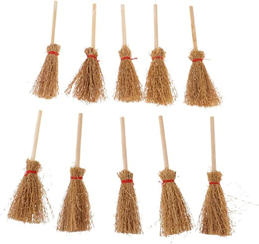 1//12 Dollhouse Miniature Wood Bamboo Broom Set Household Cleaning Tools