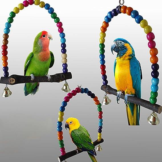 RENNICOCO Madera Swing Loro Jaula Juguetes pájaro Juguete Pinzón Periquito Cockatiel Agapornis Rainbow Bridge: Amazon.es: Productos para mascotas