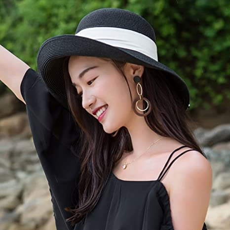 5b5fd4a617814 WQLQL Sombrero de paja de sol de moda Playa Femenina Verano Playa  Vacaciones Ancho Brim Sun