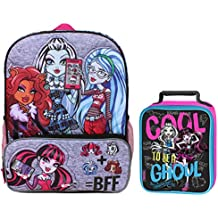 """Monster High Clawdeen Wolf, Draculaura, Ghoulia Yelps & Frankie Stein 16"""" Backpack & Lunchbox Set"""
