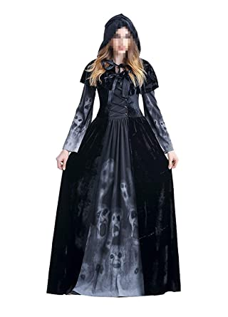 7b525999a2 Amazon.com  DniDesly Womens Cosplay Costume Halloween Black Ghost Witch  Cloak Dress Outfit Hooded Robe  Clothing