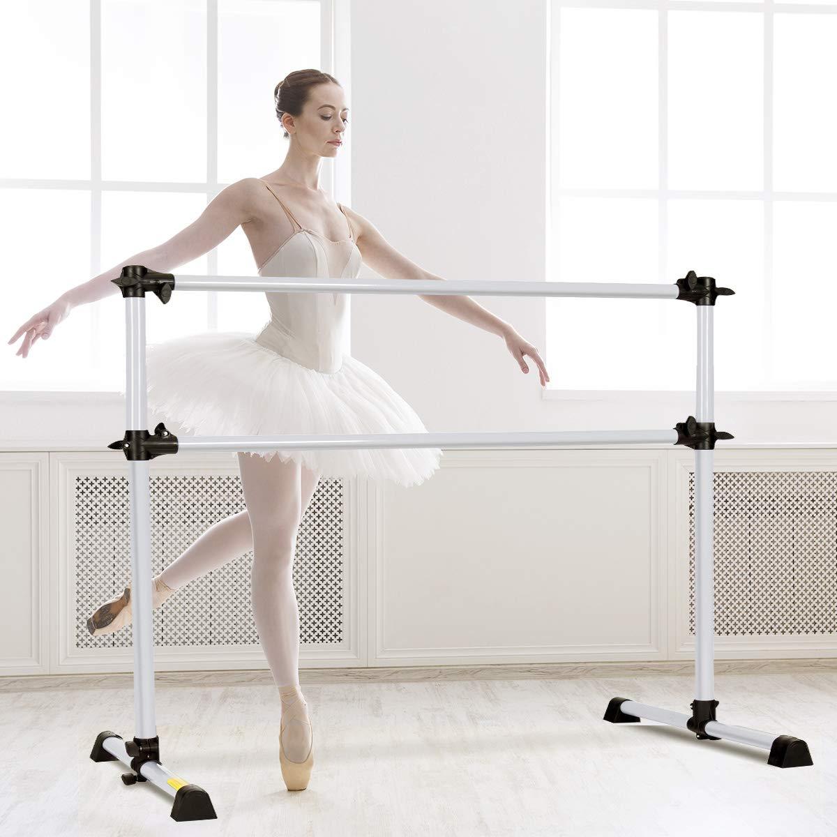 Costway Double Ballet Barre Gymnastics Bar Stretch Bar Portable Freestanding Dance Exercise Equipment 123cm Long 120cm Height