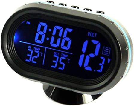 Multifunktion Digital KFZ Auto Uhr LCD 12V Thermometer Spannungstester Voltmeter