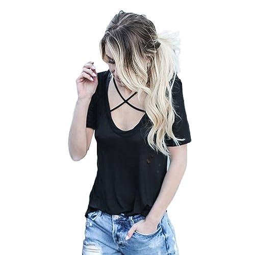 Coversolate Mujer Suelto Manga corta Blusa Agujeros Collar cruzado Camiseta