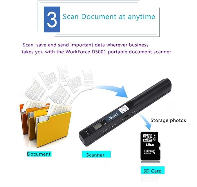 Silber SNOWINSPRING Tragbarer Handheld Mobile Tragbarer Dokumenten Scanner 900 DPI USB 2.0 LCD Anzeige Jpg//Pdf Format Auswahl