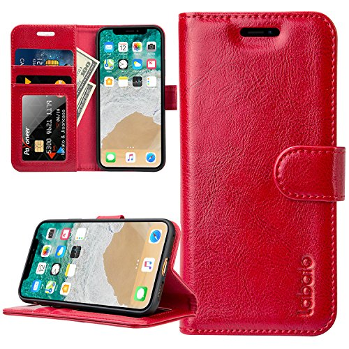 iPhone X Wallet Case,Labato iPhone Xs Genuine Leather Screen Protector Leather Flip Case Kickstand Function Card Holder Support Wireless Charging Compatible Apple iPhone X/10 5.8 red LBT-IPX-02Z30