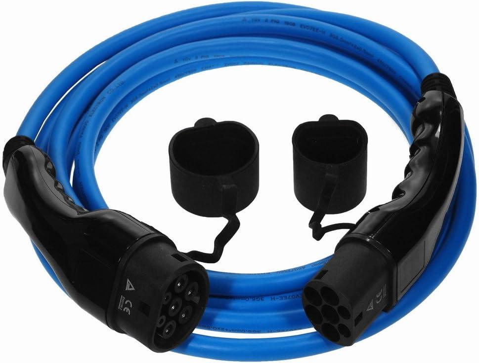 Ev Cables Premium Euro Series Ladekabel Für Elektroautos Mit Bonus Tragetasche Typ 2 Bis Typ 2 Blau 32 Amp 10 Meter 22kw Auto