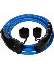 Cable de carga del coche eléctrico de la serie Euro Premium Tipo 2 al Tipo 2-32 amp | 5 metro | 7.2kW - Cable Azul con Bolsa de Transporte Gratuita