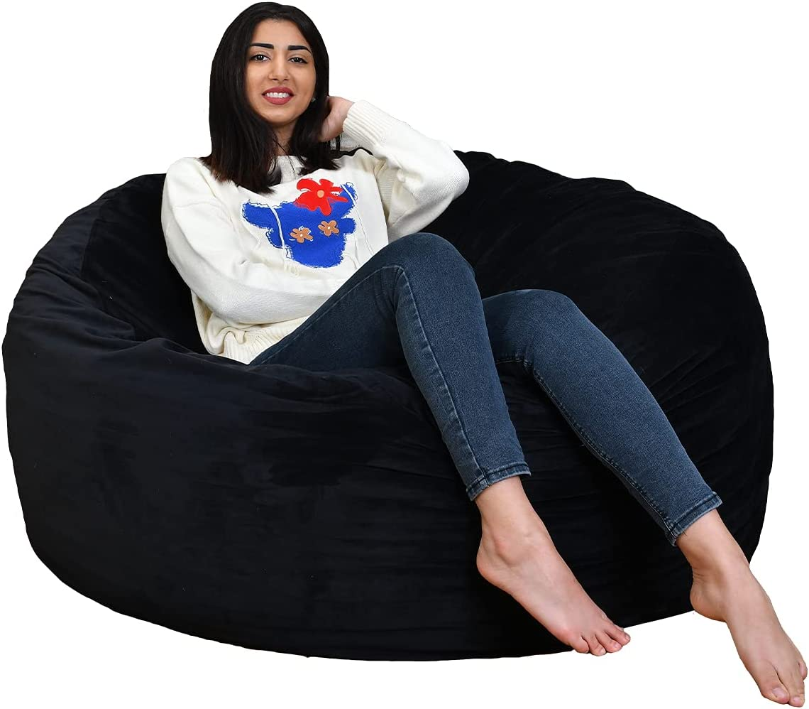 AAAAAcessories 4-Foot Bean Bag Chair - Foam Filled Furniture with Protective Liner Plus Machine Washable Cover - Large Bean Bag Chair for Adults, Teens and Kids - Black