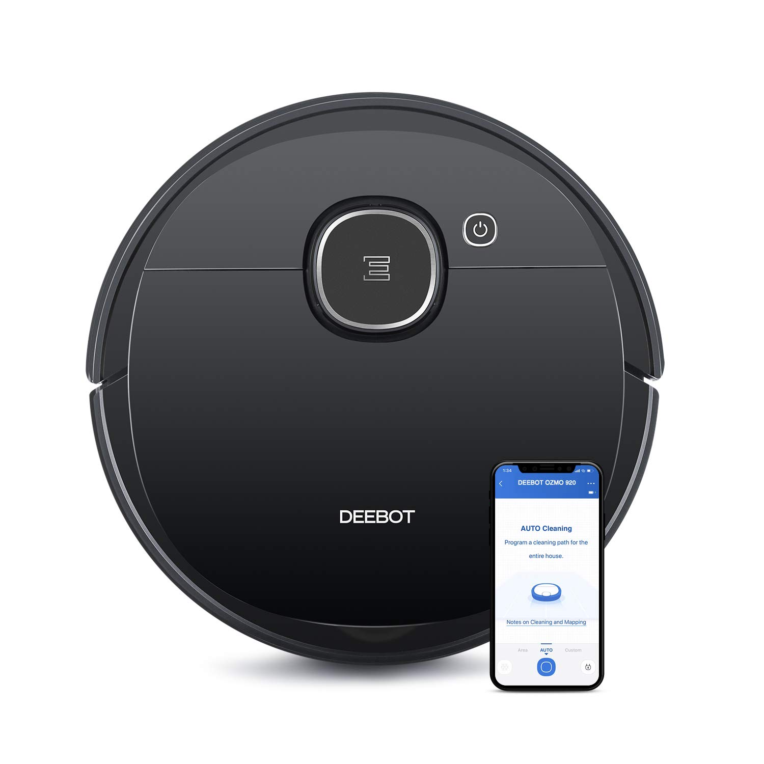 Ecovacs DEEBOT OZMO 920 2-in-1 Vacuuming and Mopping Robot with Smart Navi 3.0 Systematic Cleaning, Multi-Floor Mapping, Works with Alexa, Large, Black