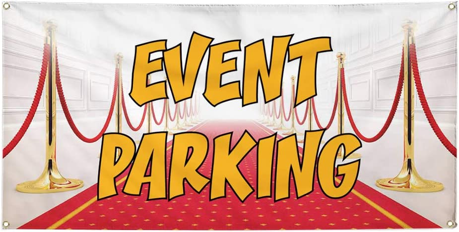 48inx96in Vinyl Banner Sign Event Parking #1 Style A Business Banners Marketing Advertising red One Banner 8 Grommets Multiple Sizes Available