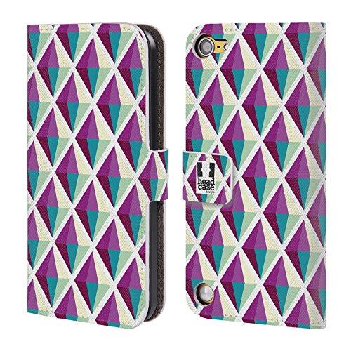Head Case Diamanti Porpora Stampe Ottiche Geometriche Cover telefono a portafoglio in pelle per Apple iPod Touch 5G 5th Gen / 6G 6th Gen