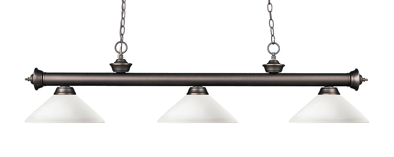 Z-Lite 200-3OB-AMO14- 3 Light Billiard Light Olde Bronze Steel Glass B00O4R80UW