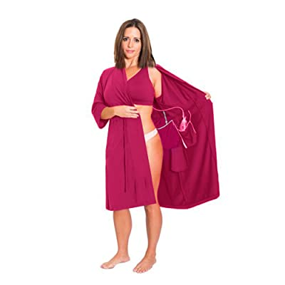 Surgical Recovery Robe with Internal Pockets for Post-Operative Drain Holder and Breast Cancer/Mastectomy Recovery at Women's Clothing store