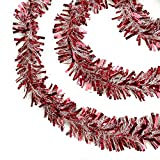 Northlight Festive Thick Cut Christmas Tinsel Garland Unlit-6 Ply, 50', Red/White