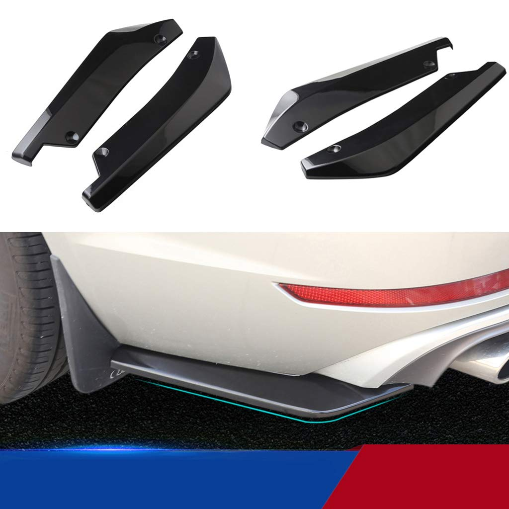 Black Homyl 1 Set of 2 Pieces Car SUV Rear Bumper Lip Splitter Fins Spoilers