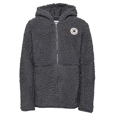 181e57af33bb Converse Boys Sherpa Zip Through Fleece Winter Hoodie Hoodie Jacket Dark  Grey Size   Medium   10 Years  Amazon.co.uk  Clothing