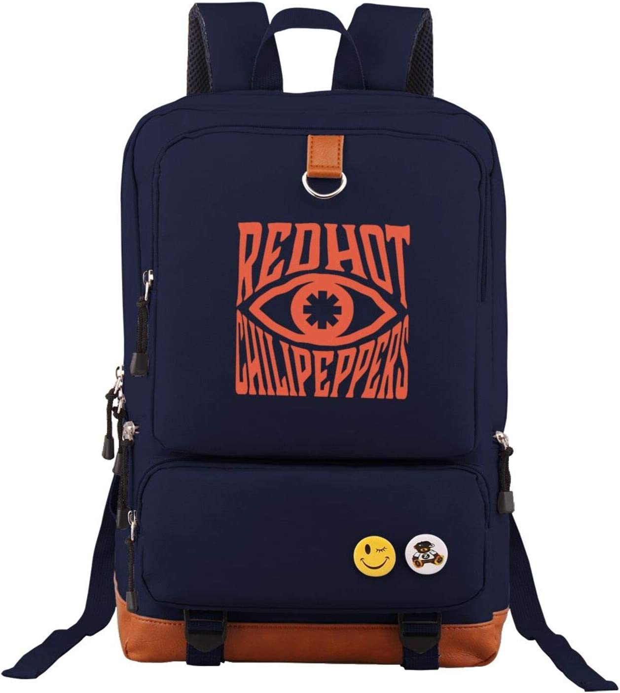 Navy Unisex Red Hot Chili Peppers Backpack Vintage Laptop Backpack Anti-Theft Water Resistant Bag Casual Travel Backpack