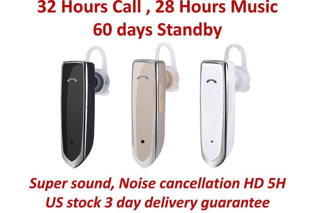 BioRing Universal Wireless Bluetooth Headset Earphones for iPhone 6 7 8 X iPads and Android Phones Samsung Galaxy Note More Black
