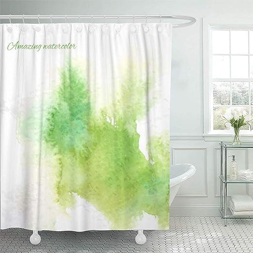 Splashing Watercolor Flowers Shower Curtain Liner Bathroom Mat Waterproof Fabric