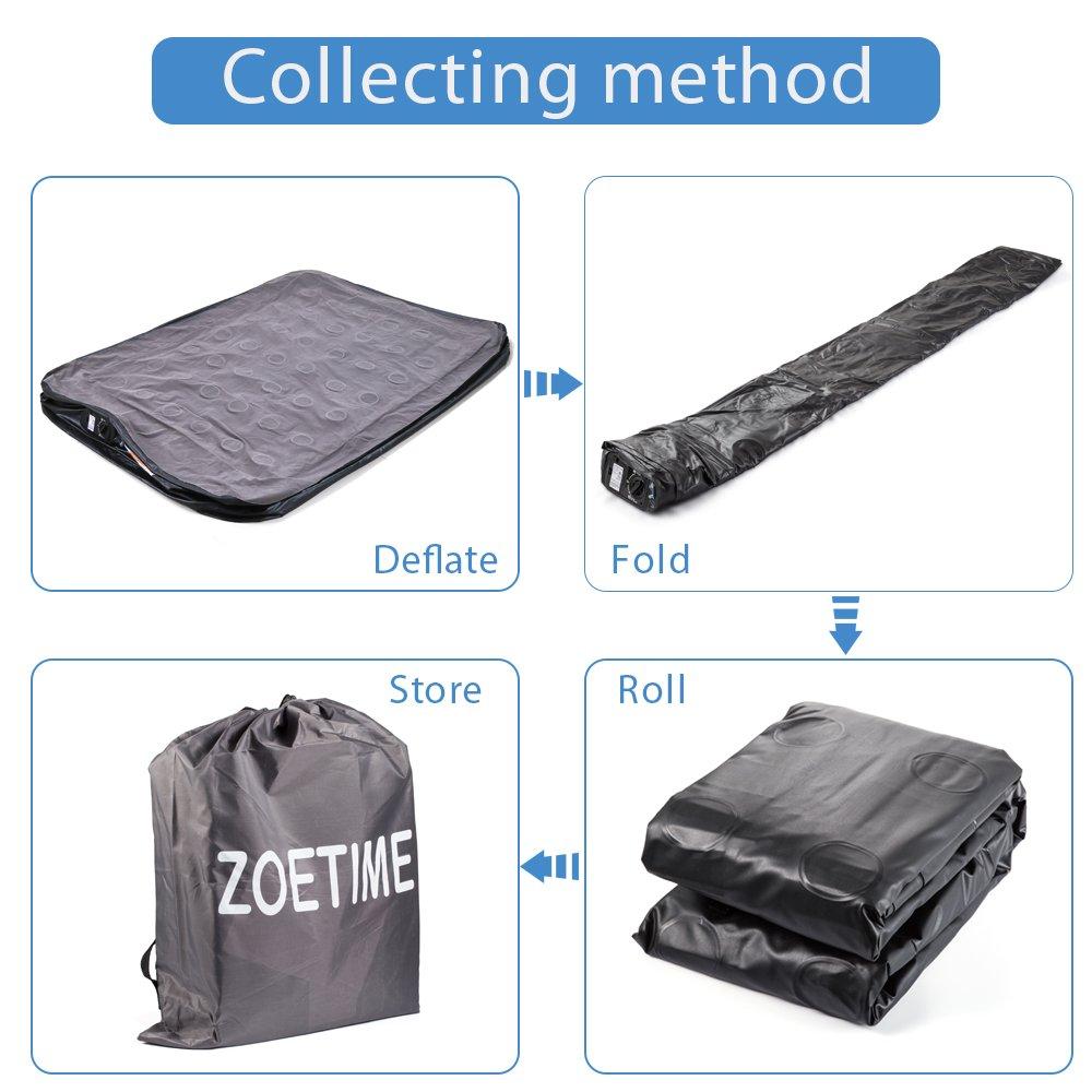 Zoetime Upgraded Queen Air Mattress Double Blow Up Elevated Raised Airbed Inflatable Beds with Built-in Electric Pump, Storage Bag and Repair Patches Included, 80 x 60 x 18.5 inches (Highest) , Gray