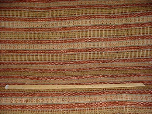 163H8 - Canyon Red / Gold / Sage Green / Fawn Southwest Kilim Chenille Designer Upholstery Drapery Fabric - By the ()