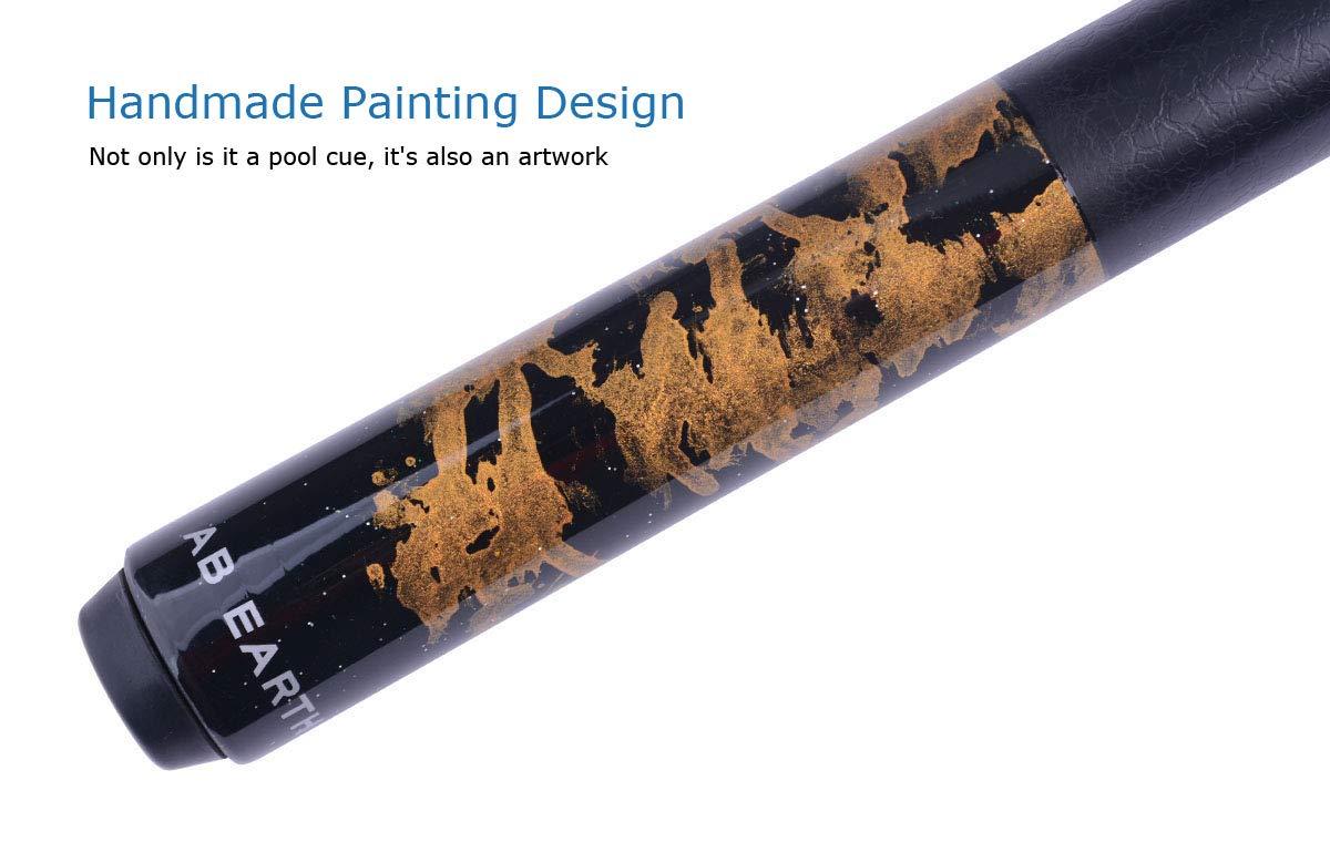 AB Earth Pool Cue Billiards Maple Stick Handmade Painting Design 2nd Generation Glue on Tip