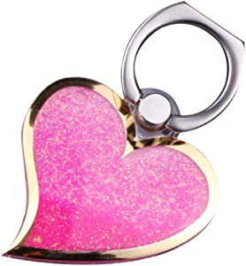 Pink Flowing Liquid Sand Heart Shaped Ring Stand, OMORRO Newest Charming Phone Back Stand Holder for iPhone 6/7 Plus/7Pro Galaxy S7 Edge S6 Edge Plus Note7/5/4/3 J3/J7 LG G5/G4/G3 Sony Z5 OnePlus3