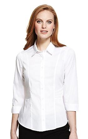 b07f068c9 Smart White 3/4 Sleeve Office Blouse / Shirt. Sizes 10-24: Amazon.co.uk:  Clothing