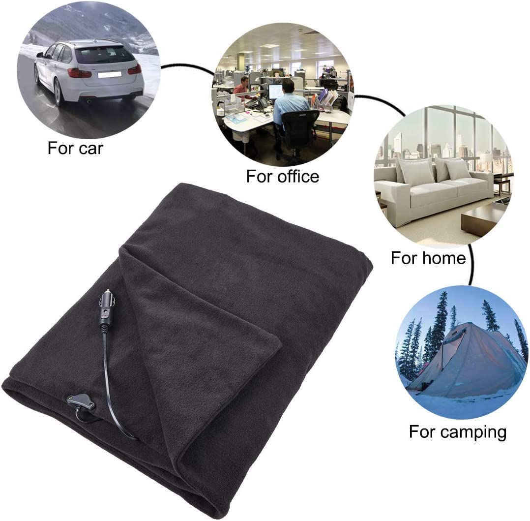 Black, 58x 41 Camping Car Use Home 12-Volt Heated Travel Blanket Throw with AC Adapter -Heating Blanket Great for Cold Weather Office Big Hippo Electric Car Blanket
