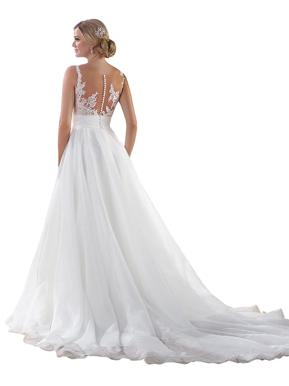 Cloverbridal A-Linie Hochzeitskleider für Damen Organza Strand ...