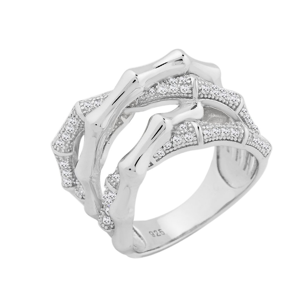 Evan Jewels, EV5-5042 Entwined Sterling Silver Ring with Cubic Zirconia (S-7)